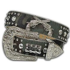 Cowgirl Crossed Pistols Camo Bling Western Belt