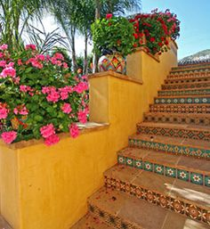 Mexican Talavera tiled stairs.  #tile #staircase #stairs #steps #stairway #riser #Mexican #Talavera #Hacienda