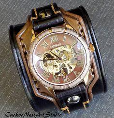 Leather Cuff Watch Leather Wrist Watch by CuckooNestArtStudio, $145.00