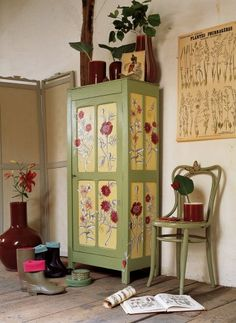 Paint & decoupage. Great colors.