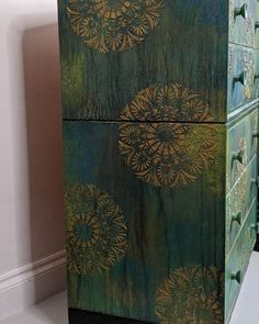 Bohemian bedroom drawers, artist painted one of a kind. Yoga furniture, salon decor meditation space green bedroom drawers interior trend pantone colour of the year. Pub Interior, Bohemian Interior, Interior Design, Bohemian Furniture, Dark Interiors, Hotel Interiors, Bespoke Furniture, Cool Furniture, Painted Furniture