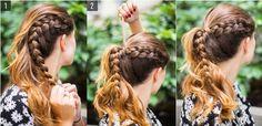 Chica mostrando paso a paso como hacer una cola de caballo con una trenza a un…