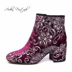 7e622f77927346 Arden Furtado 2017 winter woman fashion embroidery velvet flowers ankle  boots square high heels 8cm handmade shoes