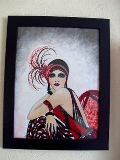 Acrylic Painting Art Deco Vintage Lady In Red Black Dress, 20s Fashion, Women £35.00