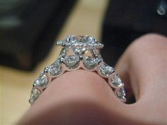 side view halo with wedding band