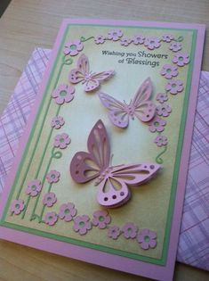 handmade baby shower card .... delightful!!! ... lavender and green ... Silhouette cutting files for butterflies and flowers ...
