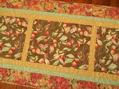 Quilted Table Runner with Birds in Brown Red Golden Yellow and Green, Birds Table Mat, Quilted Tablecloth, Bird Table Decor by SusiQuilts on Etsy
