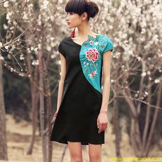 Liebo 2012 New Spring Double Color Arc Embroidered Dress