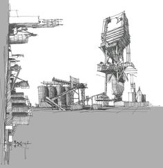 Archilibs    Collage of the sketches of the large Dolese facility | GEOFF