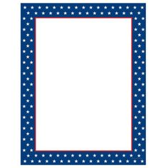 """This computer printer paper stock features a blue and red border with white stars. The 8 1/2"""" x 11"""" stationery paper runs smoothly through inkjet printers, laser printers and copiers."""