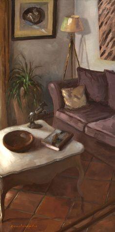 Jean-Christophe Gondouin. Au salon, chez le peintre, huile sur toile 80x40cm
