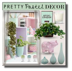 """Pastel Home Decor"" by sabine-713 ❤ liked on Polyvore featuring interior, interiors, interior design, home, home decor, interior decorating, Henri Bendel and National Tree Company"
