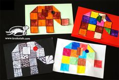 Elephant squares project: Use with the picture Book ELMER Craft Activities For Kids, Book Activities, Crafts For Kids, Elmer The Elephants, Grade 1 Art, Kindergarten Art Projects, Math Art, Business For Kids, Business School