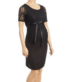 Another great find on #zulily! Black Lace Maternity Belted Sheath Dress - Plus #zulilyfinds