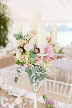 Magical Romantic Pink Green Fairy Lights Wedding Candelabra Peony Flowers…