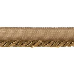 "Mariel 1/4"" Twisted Cord with Lip Trim Gold from @fabricdotcom  This 1/4'' twisted cord (braided) with a 1/2'' lip is a beautiful finishing touch to pillows, lamps, draperies and more."