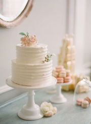 The wedding cake effect I'd like, only sub out the pink flowers with pale blue and accents of yellow and green :)