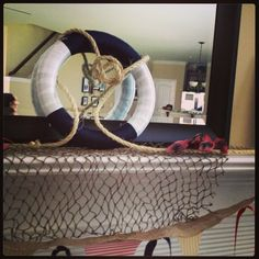 Mantle decor for nautical party...foam wreath w fabric