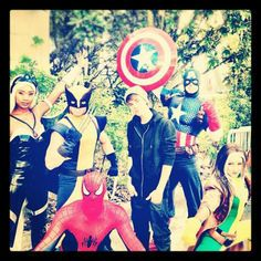 Justin with Avengers! I LOVE this picture!!!