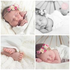 Baby girl with beautiful boheme crown flower pink and cream colours and b&w