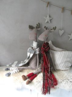 Soft Toys Deer Scandinavian Christmas by ShabbyAnnieCorner on Etsy