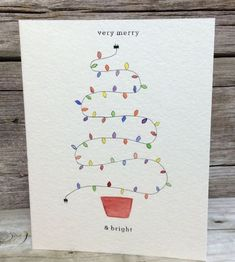 Items similar to Handmade Christmas card. Hand-p Handmade Christmas card Holiday card Watercolor by ThelittleCardCo Watercolor Christmas Tree, Christmas Art, Christmas Cards Drawing, Christmas Lights, Painted Christmas Cards, Christmas Vacation, Christmas Cookies, Christmas Ornament, Homemade Christmas Cards