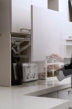 Hide Appliances Design, Pictures, Remodel, Decor and Ideas - page 3 Appliance Cabinet, Kitchen Appliance Storage, Appliance Garage, Kitchen Cabinet Design, Kitchen Interior, Kitchen Decor, Kitchen Appliances, Kitchen Ideas, Pantry Ideas