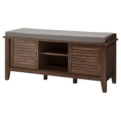 Threshold™ Storage Bench With Slatted Doors - Chestnut