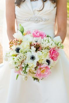 Mixed Ivory & Pink Wedding Bouquet - See the wedding on http://www.StyleMePretty.com/southwest-weddings/2014/04/02/pecan-springs-ranch-wedding/ TaraWelchPhotography.com