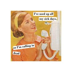 Vintage Funny Magnet 4 x 4 inches - Sick Days on Etsy, $3.75