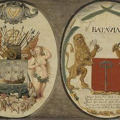 The Arms of the Dutch East India Company and of the Town of Batavia, Jeronimus Becx (II), 1651 - Rijksmuseum