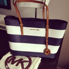 The King Of Quantity Michael Kors Jet Set Striped Travel Medium Black White Totes Good Products Never Ask Market! #MichaelKors | See more about navy stripes, michael kors and bags.