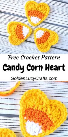 This crochet candy corn applique is cute, made in the shape of a heart and sugar-free! Using this pattern you can create a wonderful Autumn or Halloween decoration. Crochet Fall Decor, Holiday Crochet, Crochet Gifts, Cute Crochet, Crochet Bags, Crochet Animals, Autumn Crochet, Crochet Coaster Pattern, Crochet Motif
