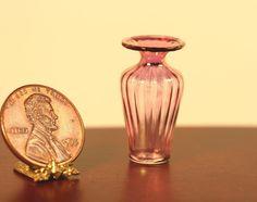 Miniature Dollhouse Glass Vase White w// Black Swirls