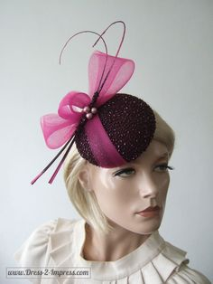 """Aubergine Fuschia Pink Fascinator Beaded Button Cocktail Hat Headpiece """"Arusa"""" Winter Wedding Hat, Mother of the Bride, Racing Fashion Winter Wedding Guest Hats, Wedding Hats For Guests, Facinator Hats, Pink Fascinator, Fascinators, Headpieces, Races Fashion, Fashion Hats, Fashion Top"""