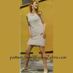 WonkyZebra WZ125 crochet shift dress and short sleeved coat pattern. Very sixties, boucle texture, neck detail, coat sleeve has frill.