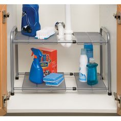 Features:  -Heavy-duty steel construction.  -10 Adjustable (snap on) mesh panels fit around the pipes.  -Creates additional storage space under the sink.  Product Type: -Shelving.  Style: -Contemporar