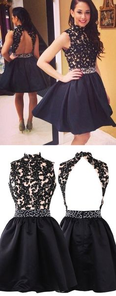 short black backless prom homecoming dresses, cheap 2017 prom dresses with appliques , high quality prom dresses, new arrival prom dresses, high neck prom dresses backless, unique prom dresses for women