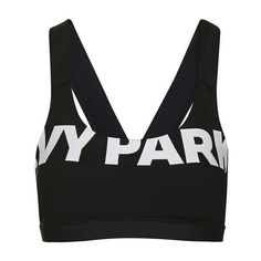 V-Back Mesh Insert Bra by Ivy Park ($32) ❤ liked on Polyvore featuring activewear, sports bras, tops, beyonce, ivy park, sport, sport t shirt, seamless top, crew neck t shirt and topshop tops