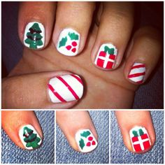 diy christmas nail art. candy cane stripes, christmas tree, holly berries, and presents
