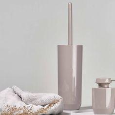 Buy Zone Denmark Suii Toilet Brush & Holder Now at Dotmaison. Quality designer homewares & Free UK delivery over Japanese Minimalism, Soap Dispensers, Toilet Brush, Simple Bathroom, Taupe Color, Danish Design, House Colors, Denmark, Household