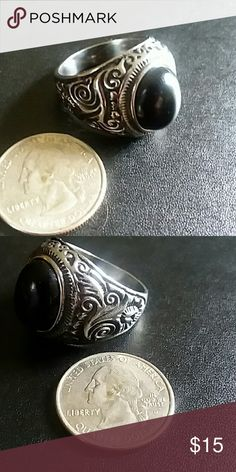 Men's Stainless Steel Black Onyx Ring!!! New and never worn! Size 13 Accessories Jewelry