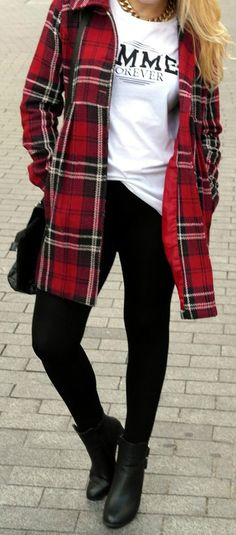 Red plaid jacket | Street Style