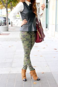 Peplum as a vest, and camo & leopard mixing