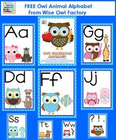 free owl theme classroom alphabet printable PDF