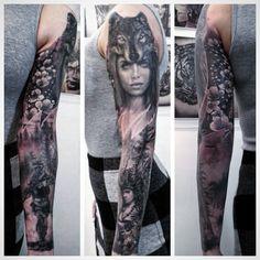 Photo by (sullenclothing) on Instagram   #fantasytattoo #handtattoo #realistictattoo #usa #realismtattoo #realisticink #riga #sleevetattoo #inkedgirls #blackandgraytatto #skinart #lv #uk #skinartmag #tattoos #tattoo #tattooart #art #tattooed #tattooedlife #inkedlife #uktta #inkaddict #inkedwomen #tattooartist #artist Hand Tattoos, Sleeve Tattoos, Fantasy Tattoos, Realism Tattoo, Riga, Skin Art, Inked Girls, Cover Design, Tattoo Artists