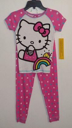 Hello Kitty 2 Pc Pajama Top and Bottom Set Girl's Size 8 Pink Polka Dot Toddler Pajamas, Pajama Top, Pink Polka Dots, Sanrio, Hello Kitty