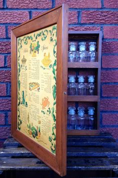 Vintage Wooden Spice Cabinet with 24 Glass Apothecary Jars for Herbs & Spices