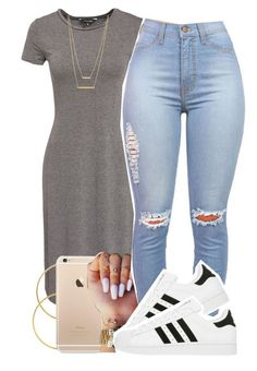 """09.26.15"" by jadeessxo ❤ liked on Polyvore featuring Mode, New Look, Melissa Odabash, adidas und Jennifer Zeuner"