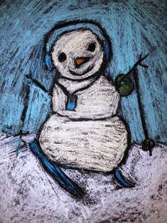 For the Love of Art: Grade: Skiing Snowman Spring Art, Summer Art, Special Needs Art, 4th Grade Art, Fourth Grade, Yarn Painting, Winter Art, Winter 2017, Art Classroom